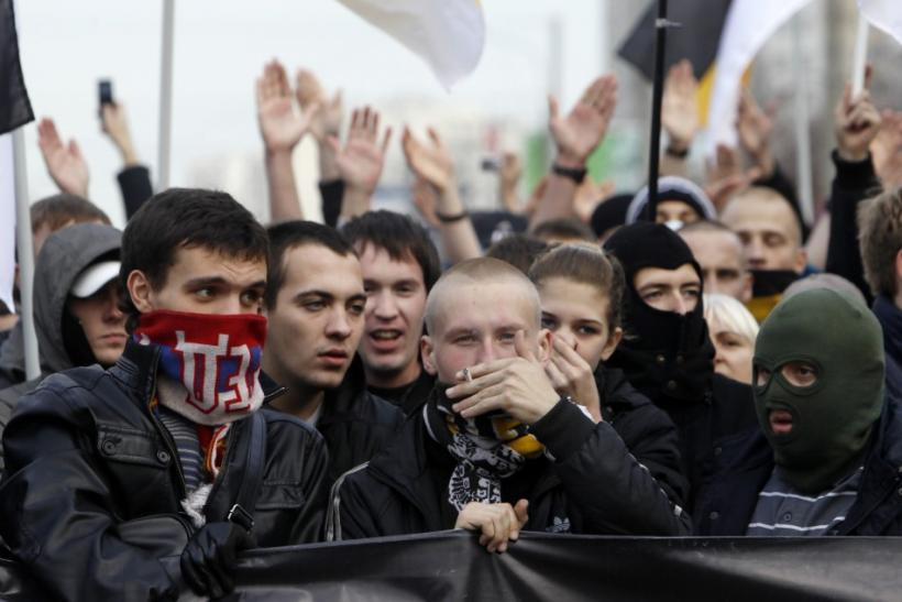 "Russian ultra-nationalists take part in the so-called ""Russian March"" demonstration on the National Unity Day in the capital Moscow"