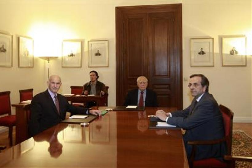 Greek President Papoulias holds a meeting with PM Papandreou and leader of conservative New Democracy party Samaras in Athens