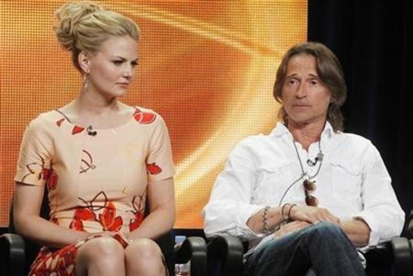 Actress Jennifer Morrison and actor Robert Carlyle who plays both Rumplestiltskin and Mr. Gold, on the new series ''Once Upon A Time'' speak during a panel session at the ABC Summer TCA Press Tour in Beverly Hills , California
