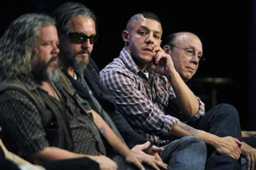 Cast members (L-R) Mark Boone Jr., Tommy Flanagan, Theo Rossi and Dayton Callie participate in the panel for ''Sons of Anarchy'' during the FX summer Television Critics Association press tour in Beverly Hills, California