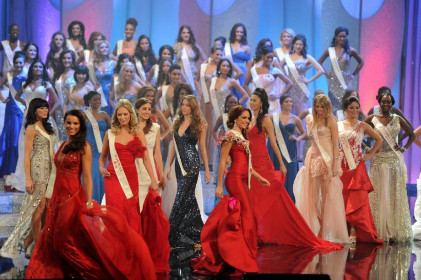 Competitors in the 2011 Miss World final, parade on stage during the opening ceremony in Earls Court in west London