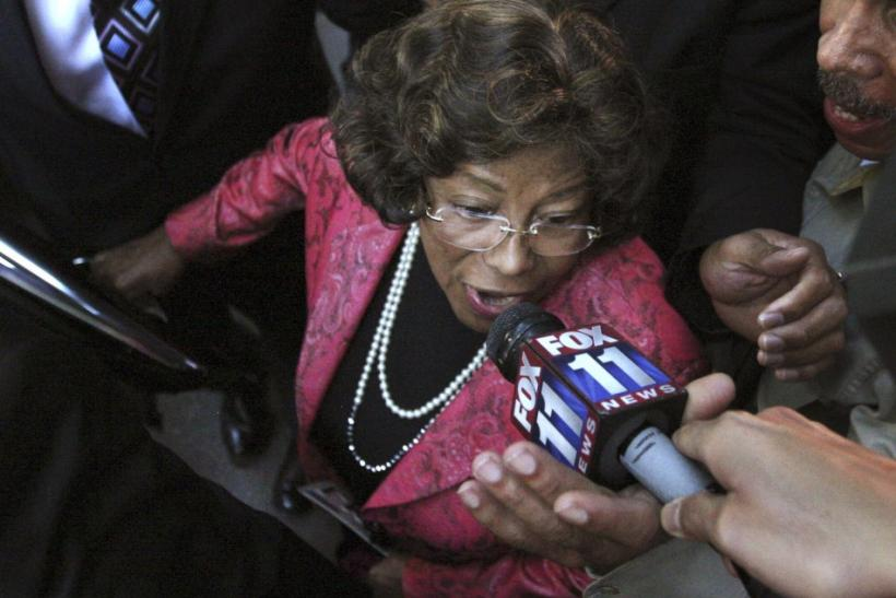Michael Jackson's mother Katherine Jackson speaks to the media as she leaves the courthouse
