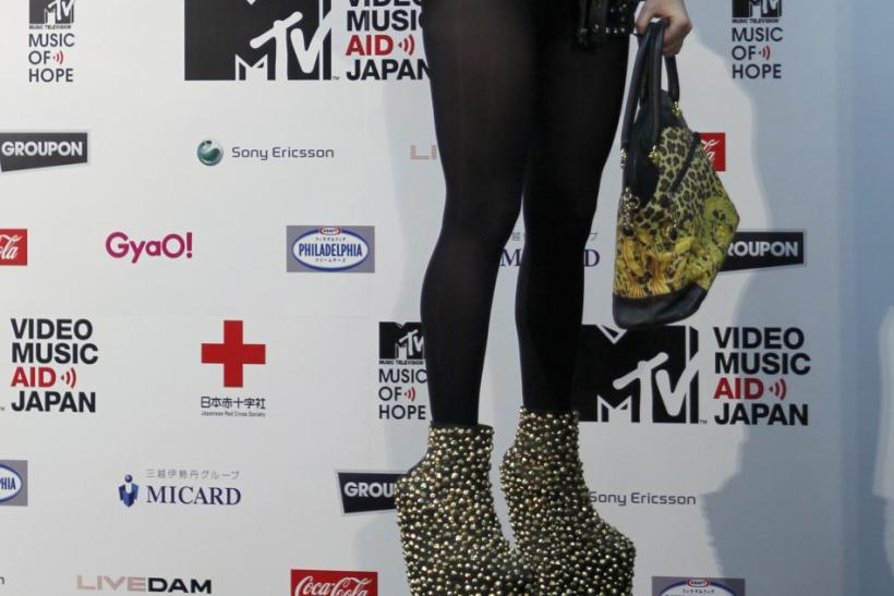 U.S. singer Lady Gaga attends a news conference after performing at the MTV Video Music Aid Japan in China