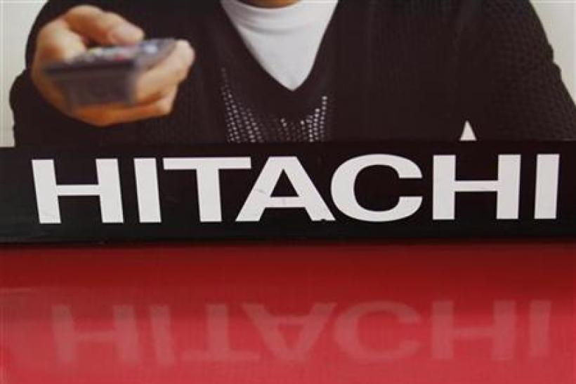A Hitachi logo is seen at an electronics shop in Tokyo