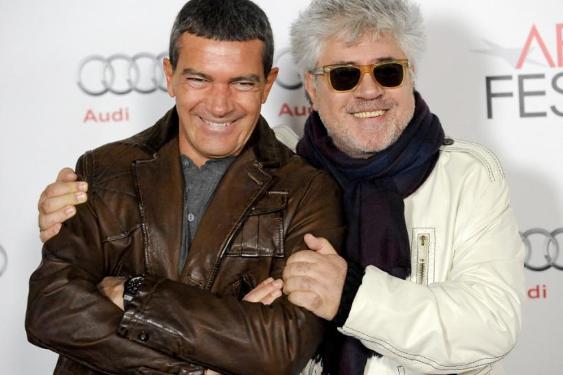 "Spanish actor Antonio Banderas (L) and Spanish director Pedro Almodovar pose at the screening of Almodovar's 1986 classic film ""Law of Desire"" during the AFI FEST Film Festival in the Hollywood area of Los Angeles, California"
