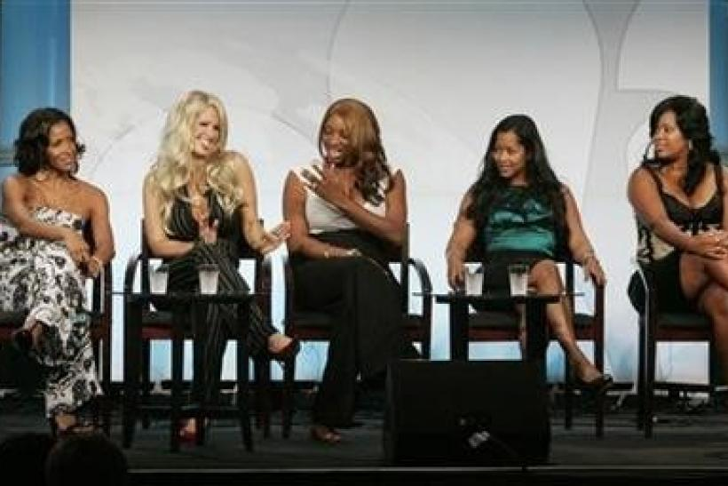 (L-R) The cast of the new BRAVO networks reality series ''The Real Housewives of Atlanta'' Sheree Whitfield, Kim Zolciak, NeNe Leakes, Lisa Wu Hartwell and DeShawn Snow take part in a panel discussion at the NBC Universal summer 2008 p