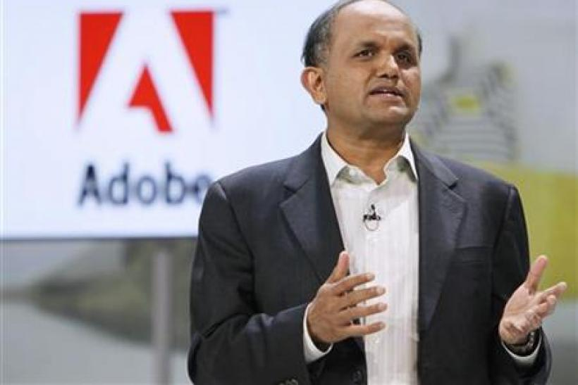 Adobe CEO Narayen speaks at the Samsung keynote address on the opening day of the Consumer Electronics Show in Las Vegas