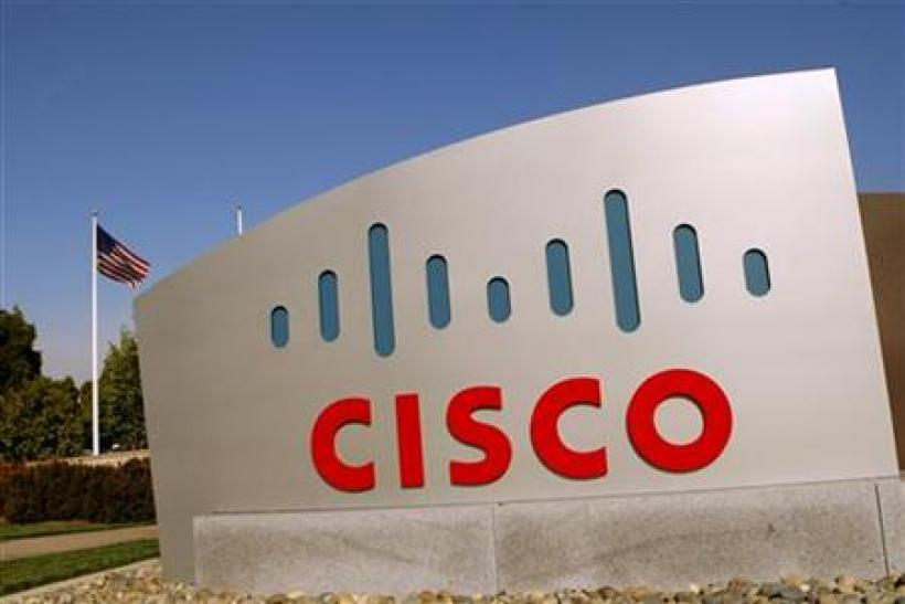 The Cisco logo is displayed at the technology company's campus in San Jose
