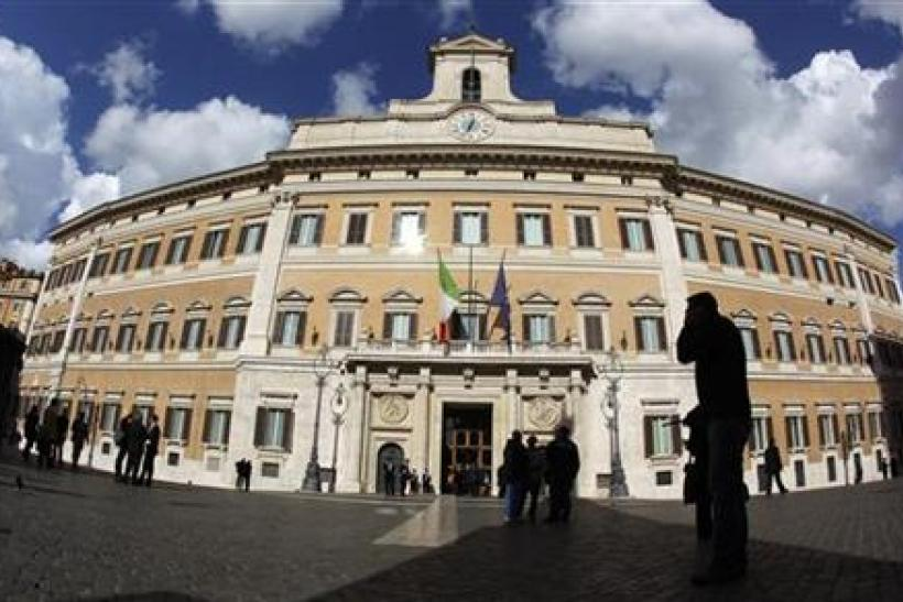 Montecitorio palace is seen early morning before the start of a finances vote in downtown Rome