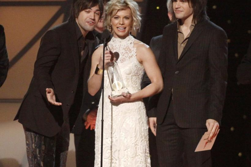 "The Band Perry accept the award for single of the year for ""If I Die Young"" at the 45th Country Music Association Awards in Nashville"