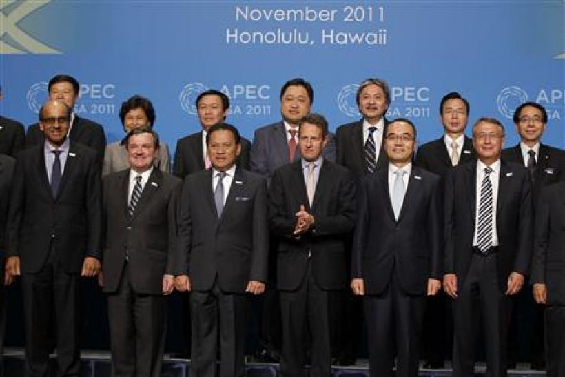 APEC finance ministers pose for a family photo during the APEC Summit in Honolulu