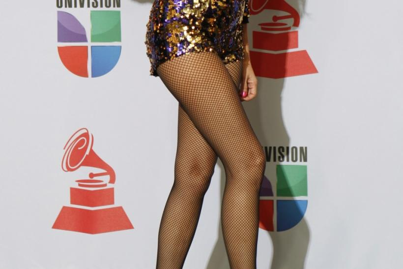 Mexican singer and actress Paulina Rubio poses backstage at the 12th annual Latin Grammy Awards in Las Vegas, Nevada