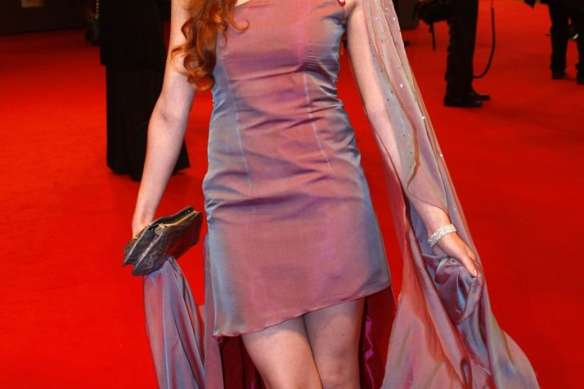 German model Barbara Meier poses on the red carpet as she arrives for the 63rd Bambi media award ceremony in Wiesbaden
