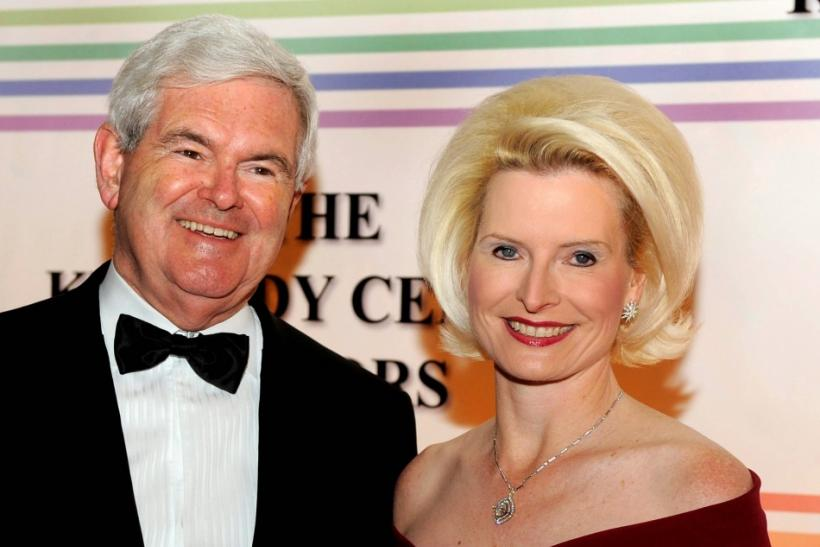 Newt Gingrich (L) and His Wife, Callista