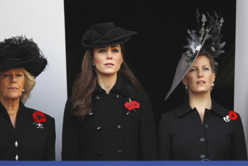Camilla, Duchess of Cornwall (L) attends the annual Remembrance Sunday ceremony with Catherine, Duchess of Cambridge (C) and Sophie, Countess of Wessex at the Cenotaph in London November 13, 2011.