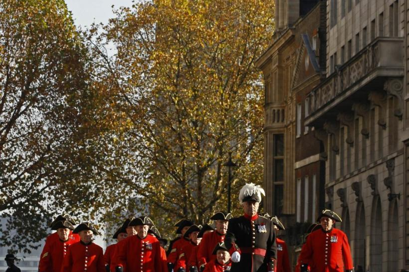 Chelsea Pensioners march during the Remembrance Sunday service in London November 13, 2011.