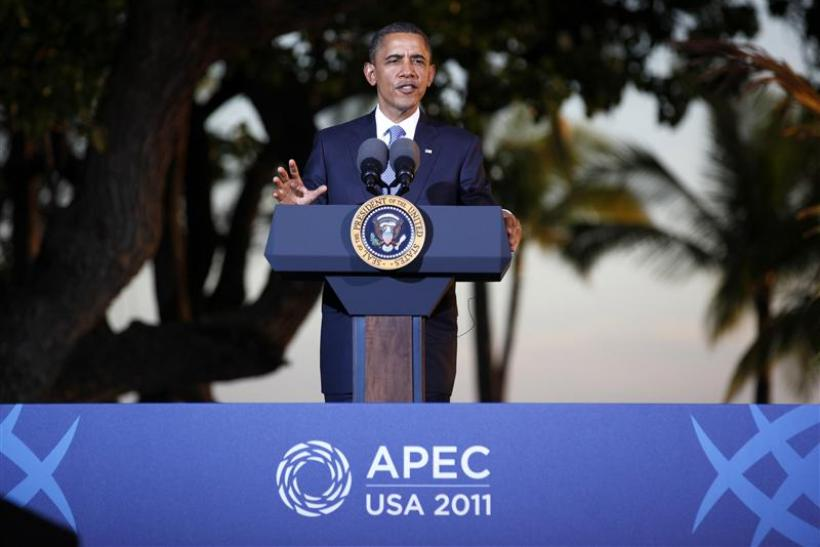 U.S. President Barack Obama speaks at his news conference at the conclusion of the APEC Summit in Honolulu, Hawaii