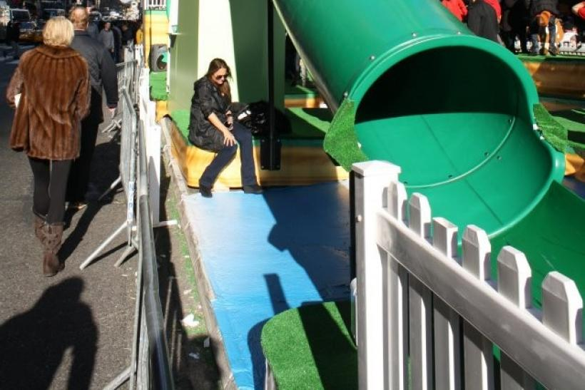 A green slide stood in for a warp pipe.