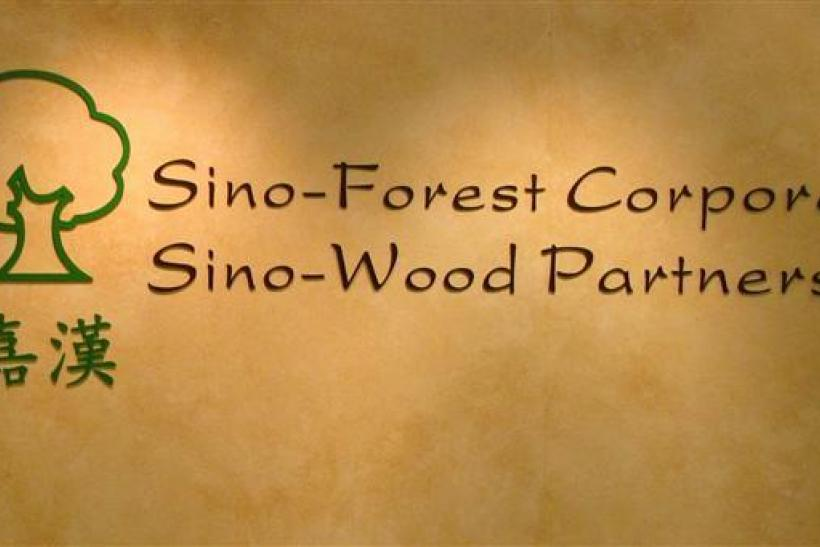 The company logo of Sino-Forest is displayed at its office in Hong Kong
