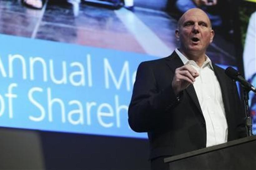 Microsoft Chief Executive Steve Ballmer speaks to attendees during Microsoft's annual shareholder meeting at Meydenbauer Center in Bellevue, Washington November 15, 2011.