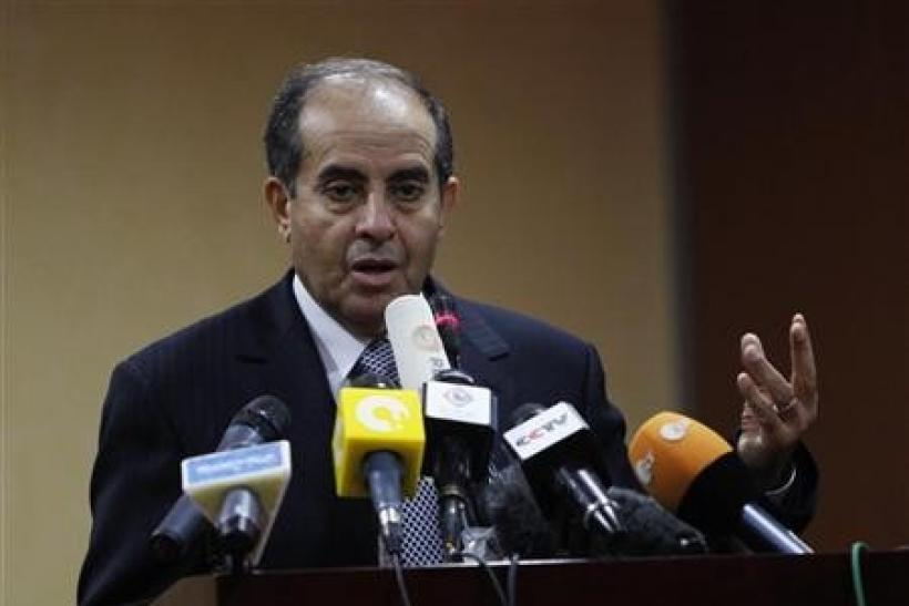 Mahmoud Jibril speaks during a news conference in Tripoli