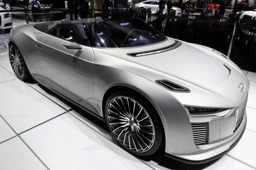 An Audi e-tron Spyder is seen at the LA Auto Show in Los Angeles, California