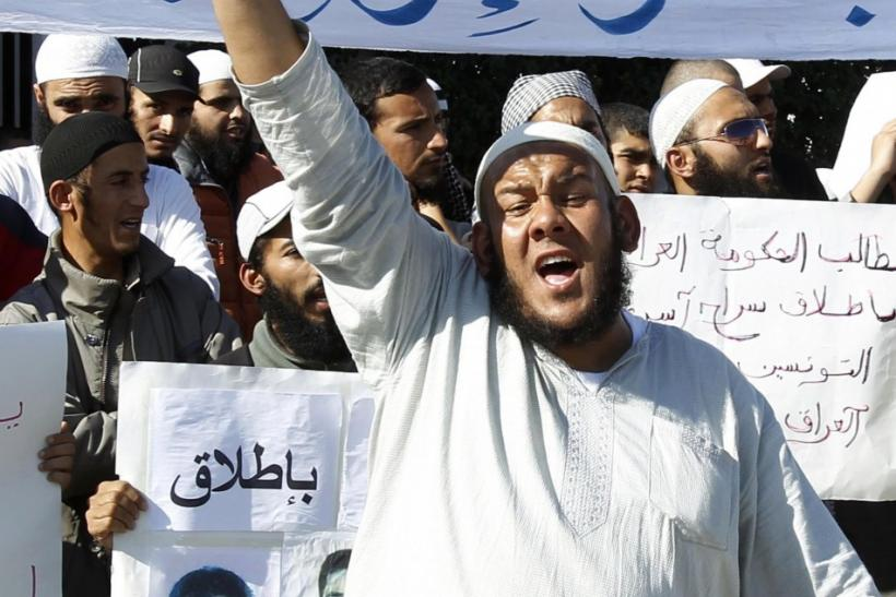 Salafists shout during a sit-in protest in Tunis
