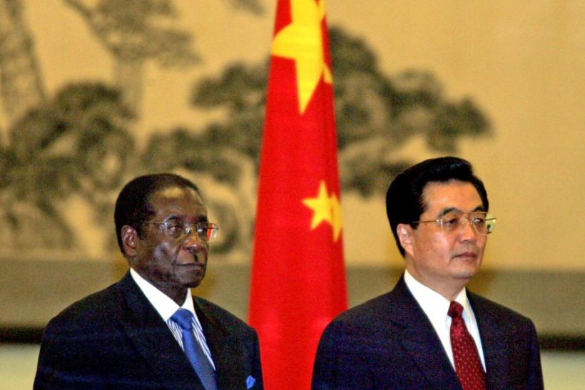 China's President Hu and Zimbabwe's President Mugabe