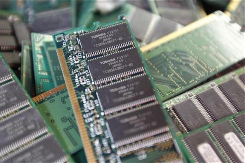 Toshiba's used-memory chips are seen at an electronics shop in Tokyo