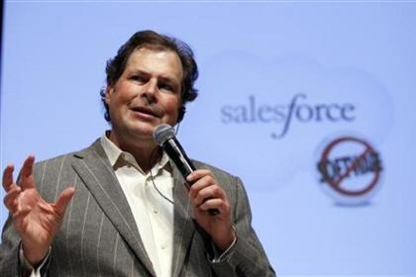Salesforce.com Chief Executive Officer Marc Benioff speaks during a joint news conference with Japan's Toyota Motor Corp President Akio Toyoda in Tokyo May 23, 2011.