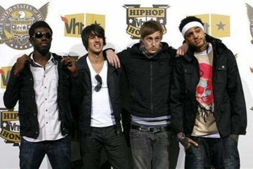 Tim William, Eric Roberts, Matt McGinley and Travis McCoy of the Gym Class Heroes arrive at the 2008 VH1 Hip Hop Honors event in New York, October 2, 2008.