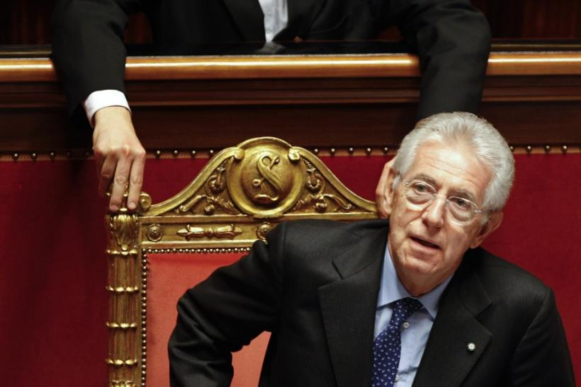 Italian Prime Minister Monti attends a vote of confidence at the Senate in Rome