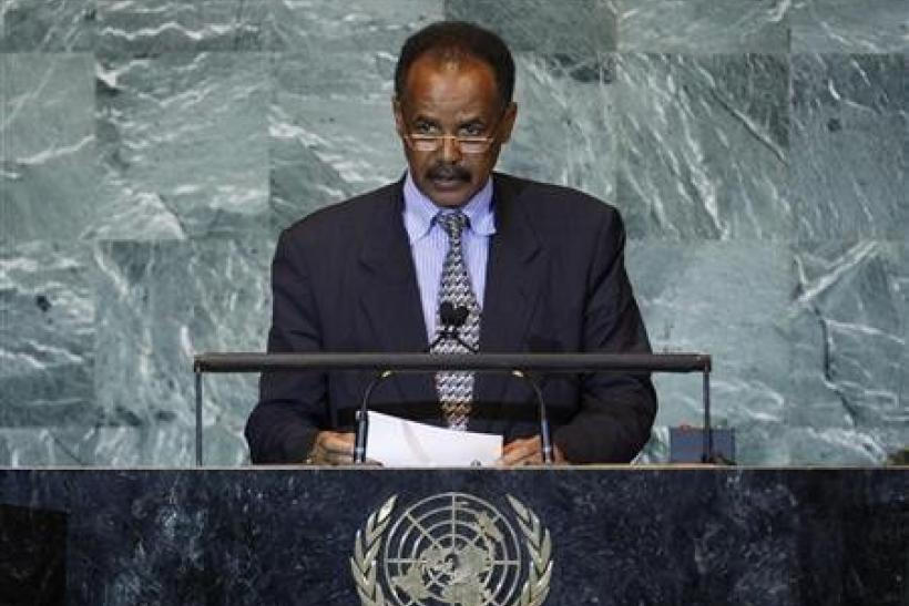 "Eritrea""s President Isaias Afwerki addresses the 66th United Nations General Assembly at the U.N. headquarters"