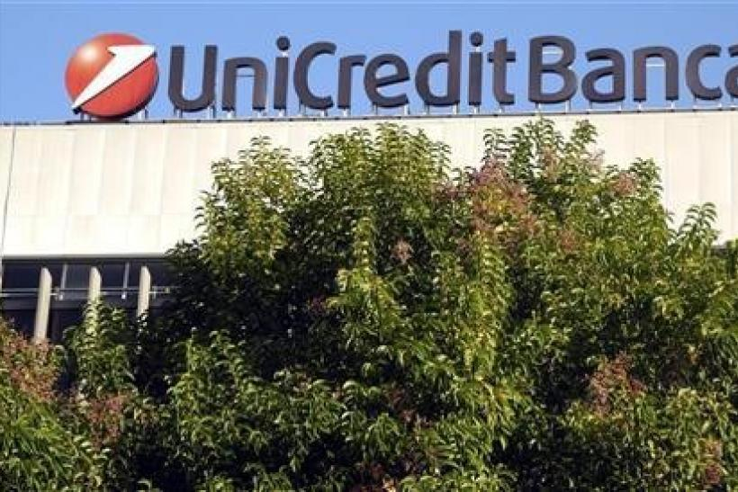 A Unicredit bank logo is seen in Rome