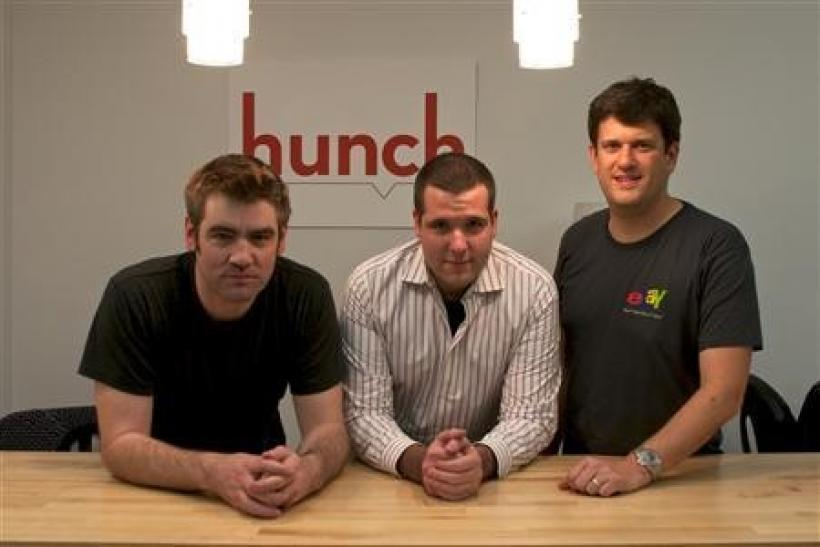 Hunch founders (L- R) Chris Dixon, Matt Gattis, Tom Pinckney in a photo taken November 21, 2011.