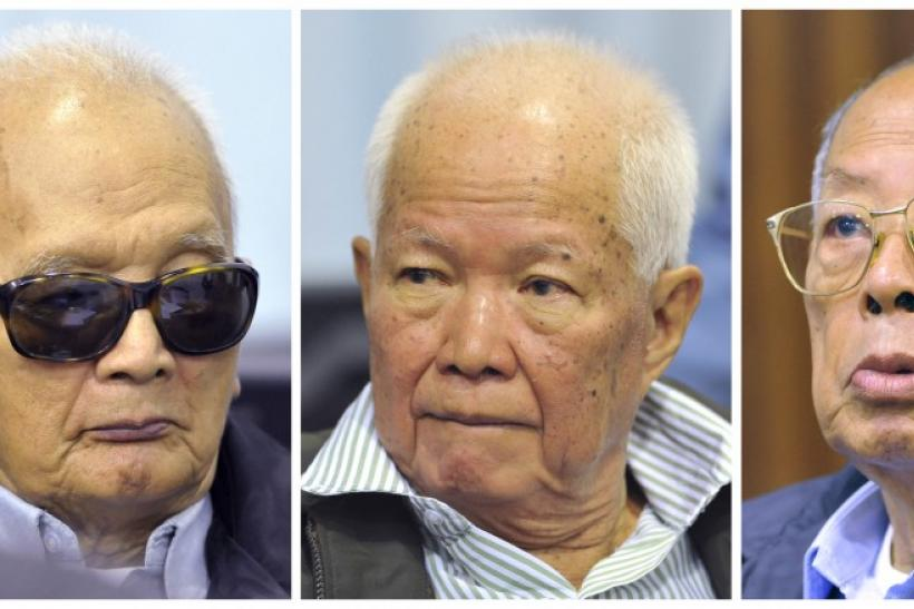 Khmer Rouge's Nuon Chea, Khieu Samphan and Ieng Sary attend trial on the outskirts of Phnom Penh