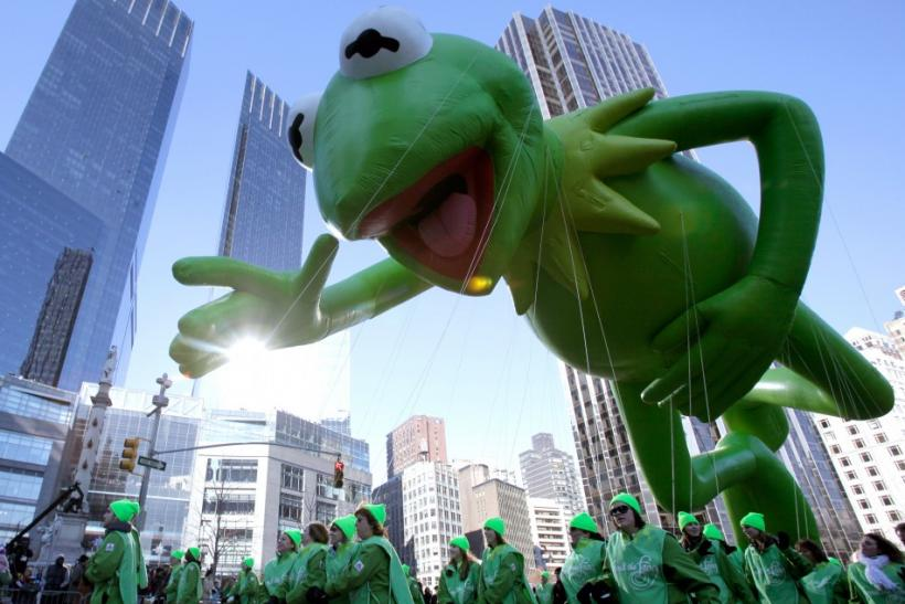 The Kermit the Frog balloon makes its way down Broadway during The Macy's Thanksgiving day parade in New York