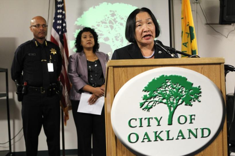 Oakland Mayor Quan speaks during a news conference about the eviction of the Occupy Oakland campsite in Frank Ogawa Plaza