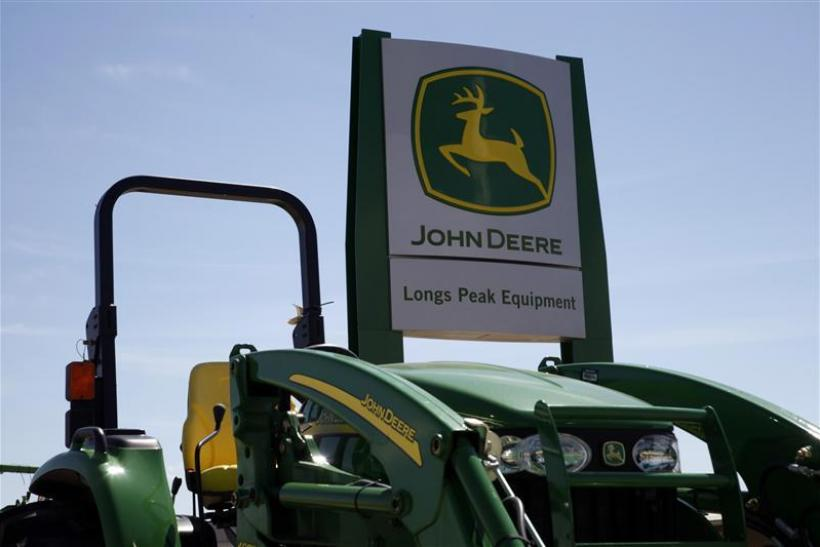 A new John Deere tractor waits for a buyer at a dealer in Longmont
