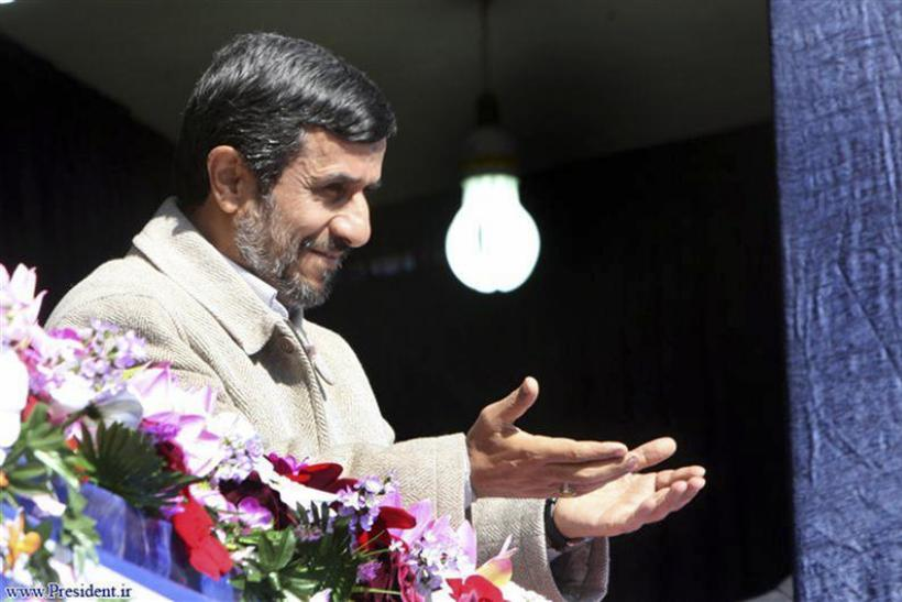 Iranian President Mahmoud Ahmadinejad gestures during his visit to speak in Shahrekord in Chahar Mahal and Bakhtiari province