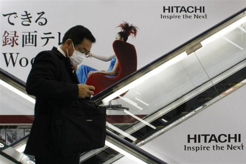 Logos of Hitachi are seen at an electronic shop in Tokyo