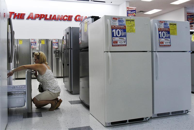 A woman shops for refrigerators at a store in New York