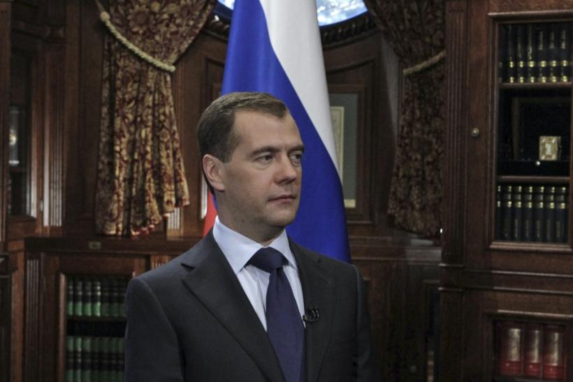 Russia's President Dmitry Medvedev makes a statement in Moscow