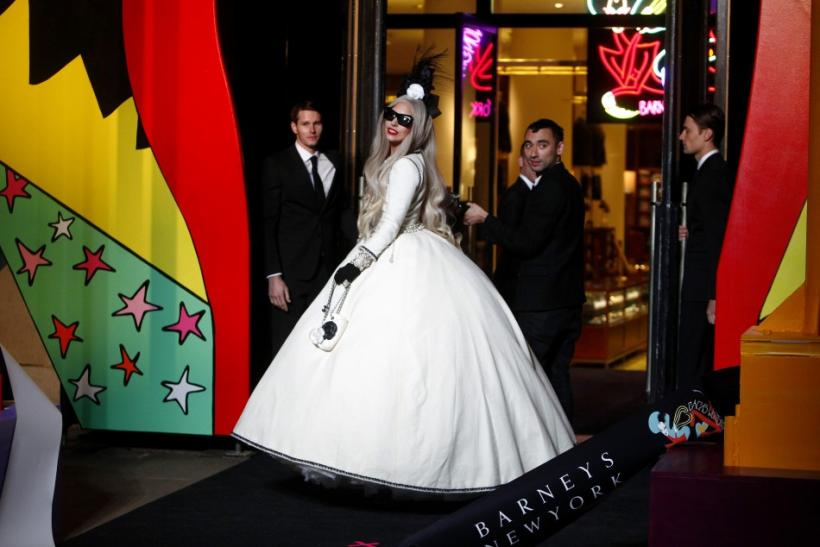 Singer Lady Gaga looks on during a ribbon cutting ceremony to launch Gaga's Workshop at Barneys department store New York