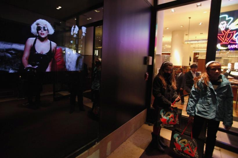 Customers leave Gaga's Workshop at luxury department store Barneys in New York