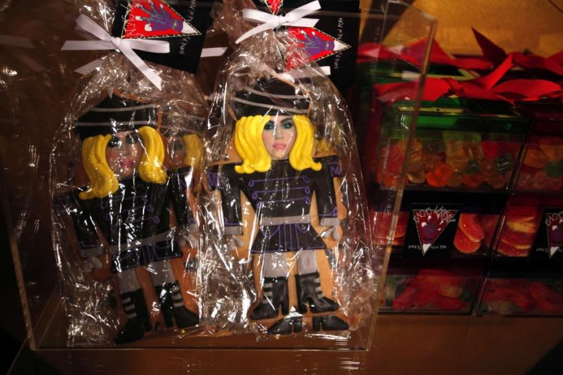 Cookies molded after singer Lady Gaga sit inside Gaga's Workshop at luxury department store Barneys in New York