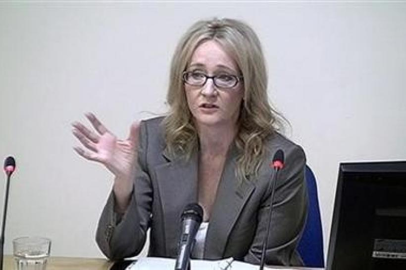 A still image from broadcast footage shows author JK Rowling speaking at the Leveson Inquiry at the High Court in central London November 24, 2011.