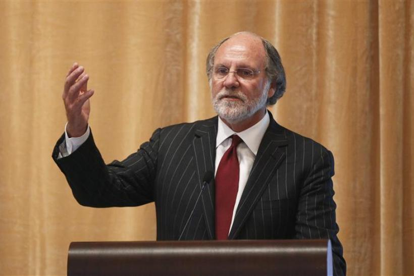 Jon Corzine, then chairman and chief executive officer of MF Global Holdings, speaks during the Sandler O'Neill + Partners global exchange and brokerage conference in New York