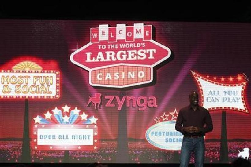 Zynga General Manager Lo Toney introduces Zynga Casino during the Zynga Unleashed event at the company's headquarters in San Francisco, California October 11, 2011.