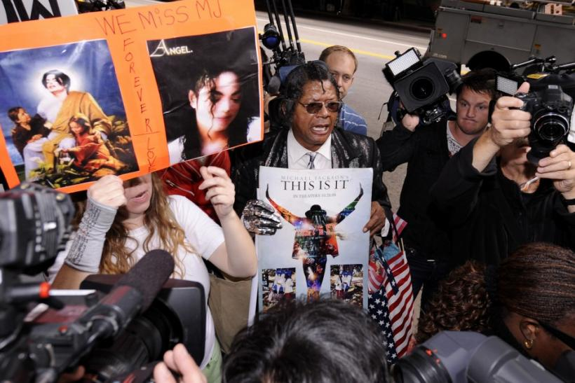 Supporters react outside at the sentencing hearing of Dr. Conrad Murray, who was convicted of manslaughter in the death of pop star Michael Jackson, in Los Angeles